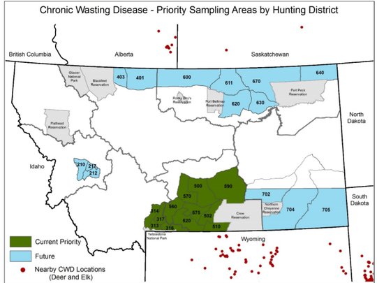 Chronic wasting disease priority sampling areas by hunting district.
