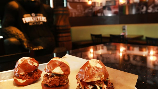The Slider Trio from Funkmeyers Rec Room is a popular choice among patrons. Featured sliders are the Sloppy Joe, Pulled Pork and Fried Chicken, all on pretzel buns.
