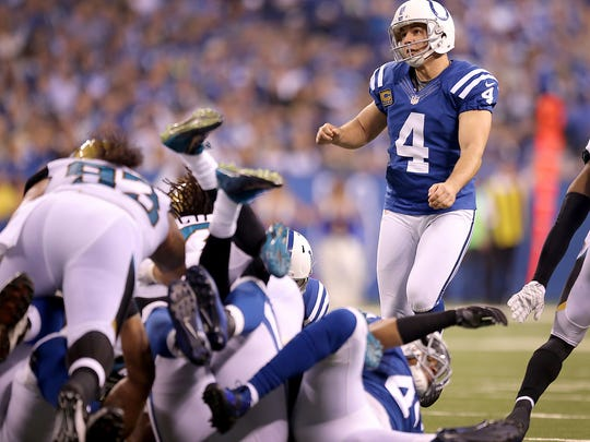The Indianapolis Colts defeated the Jacksonville Jaguars 23-3 Sunday, November 23, 2014, afternoon at Lucas Oil Stadium. Indianapolis Colts kicker Adam Vinatieri (4) watches his last field goal split the uprights.