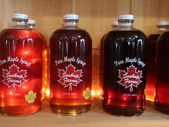 Maple syrup and other items for sale at Soukup Farms