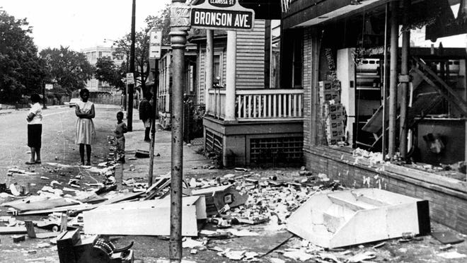The corner of Clarissa St. and Bronson Ave. after riots broke out in Rochester in July 1964.