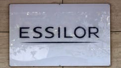 This photo shows the logo of Essilor, a French ophthalmic