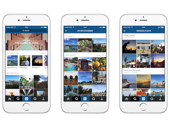 Examples of Instagram's Explore feature with different