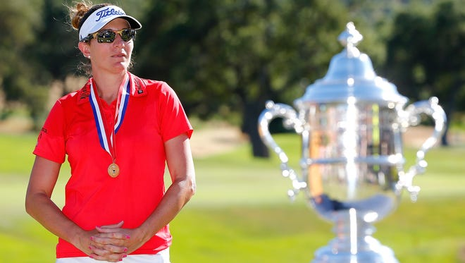 Brittany Lang poses with the U.S. Women's Open trophy at CordeValle Golf Club on July 9, 2016, in San Martin, California.