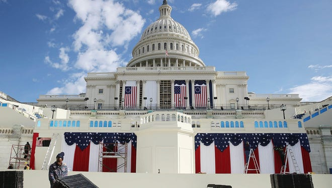 Work is being performed on the stage at the U.S. Capitol on Jan. 13, 2017, in Washington, D.C. On Jan. 20, 2017, President-elect Donald Trump with be sworn in as the nation's 45th president.