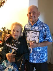 Nicolasa Delgado Payumo celebrating the magical age of 80 on Nov. 19 with husband Danny F. Payumo age 86, with family and friends in Las Vegas.