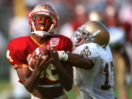 FSU's Kez McCorvey makes a catch against Notre Dame.