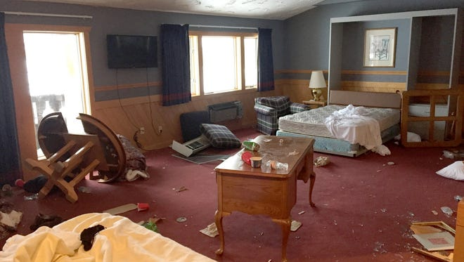 The damage sustained at The Inn at Treetops Resort outside Gaylord in northern Michigan. About $100,000 in damage was left after a University of Michigan fraternity and sorority visited the weekend of Jan. 17-18, 2015.  Photo from the Inn at Treetops Resort