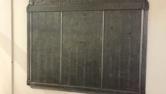 The plaque had been mounted outside the Macy's in Northland. It commemorates the 1,146 employees of the J.L. Hudson Co. who served in World War II.The plaque was originally mounted inside the Hudson's flagship department store in downtown Detroit.