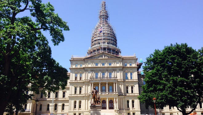 Exterior of the Capitol in Lansing on July 15, 2015.