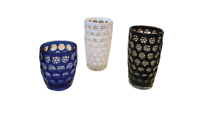 Italian acrylic tumbler, $14, and double old-fashioned, $18 (available in red, white, black and blue), Artesana.
