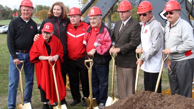 Rutgers officials and donors participate in the groundbreaking ceremony for the Fred Hill Training Complex for baseball and softball, Saturday, October 24, 2015, on the Livingston Campus in Piscataway.