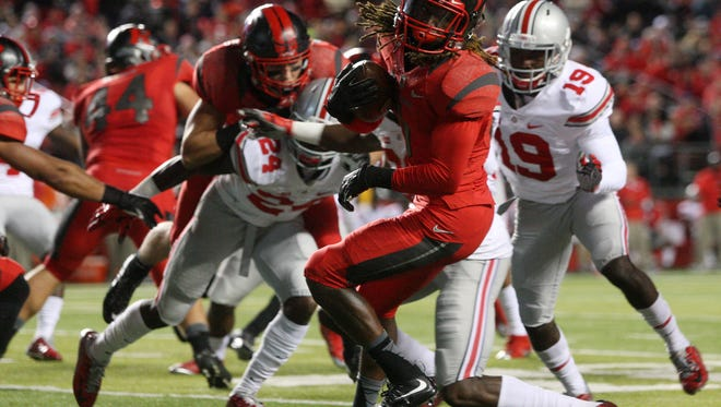 Rutgers wide receiver Janarion Grant spins during a second quarter kick-off return against Ohio State, Saturday, October 24, 2015, in Piscataway.
