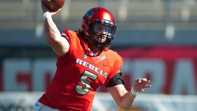 Quarterback Blake Decker has moved up to No. 9 on UNLV's career passing list with 4,153 yards while playing in just 20 games.