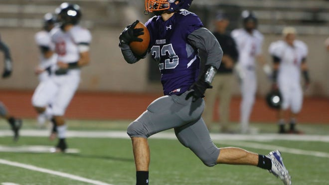 Eastlake receiver Isaiah Holguin heads to the end zone after taking a pass during the second quarter Fridlay.
