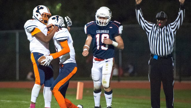 William Penn's Eric Mann, left, celebrates with Tallian Lehr after his touchdown during the regular season. The Bearcats went 0-10 this past season, and community members, players, coaches and parents have all expressed a concern for the state of William Penn football.