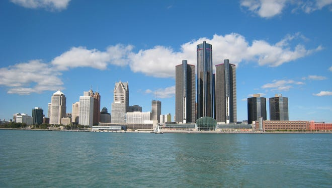 The skyline of Detroit as seen from the Detroit River.