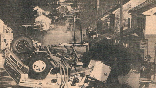 File photo from the Evening Sun from Dec. 18, 1985 showing the accident that killed New Oxford Kathy Hippensteel, when it flipped and threw her from the rear of the vehicle on their way to a fire in Abbottstown.