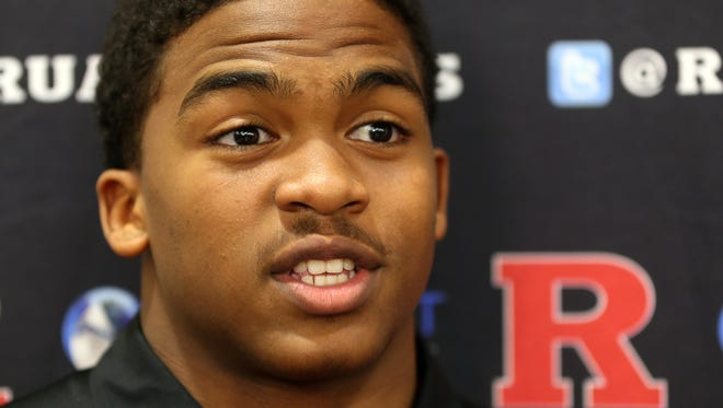 Rutgers RB Trey Sneed speaks to reporters, Wednesday, February 3, 2016, at the Hale Center in Piscataway.