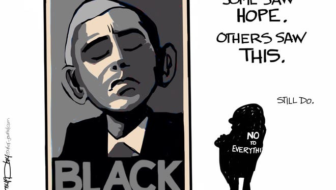 Editorial cartoon on Obama and race