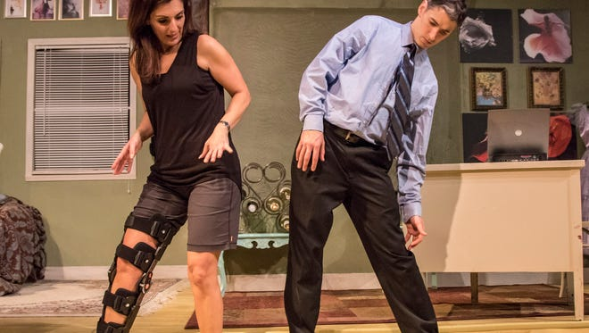 """Sarab Kamoo and Michael  Brian Ogden in Jewish Ensemble Theatre's production of """"Dancing Lessons."""""""