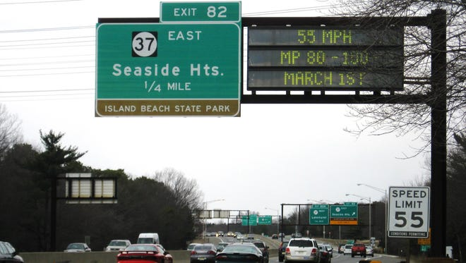 Traffic continues southbound on the Garden State Parkway near Seaside Heights.