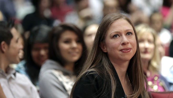 Chelsea Clinton on Thursday listens to a presentation by El Dorado High School students on how they will improve the community.