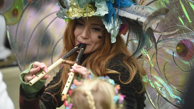 Visitors were entertained by Twig the fairy at The May Day Fairie Festival at Spoutwood Farm in Glen Rock on Friday, April 29, 2016.