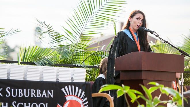 Devon Hornberger delivered the valedictorian address during York Suburban High School's graduation ceremony.