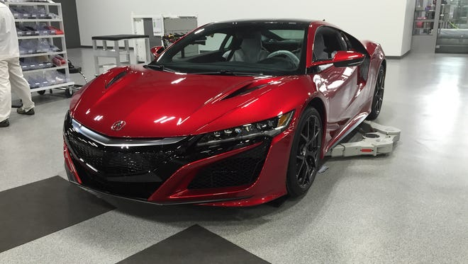 A 2017 Acura NSX is almost ready to be shipped after being assembled at the automaker's Performance Manufacturing Center in Marysville, Ohio