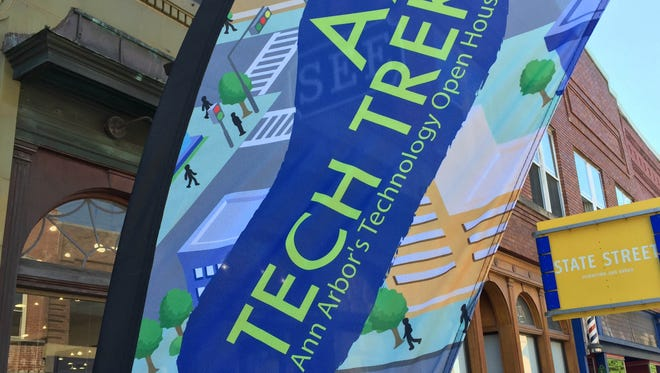 A banner marked all the venues open during the annual Ann Arbor Tech Trek on Friday June 17, 2016 in downtown Ann Arbor.