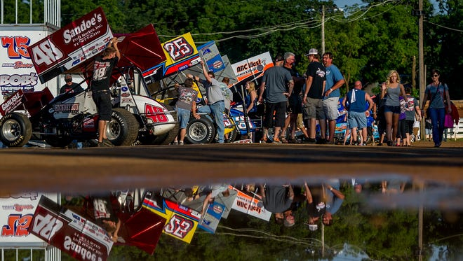 Drivers gather in the pits before the World of Outlaws Craftsman Sprint Car Series Tune-Up 410 Friday at Williams Grove Speedway.