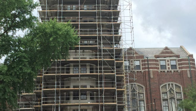 The front of the Michigan Union is covered with scaffolding on Thursday July 21, 2016. U-M will spend $85 million in renovations.
