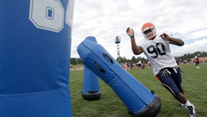 UTEP freshman defensive lineman Christian Johnson was among those who made plays Aug. 9 during the scout team scrimmage.