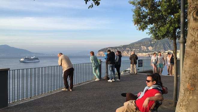 Looking out over the sea from a park in Sorrento, Italy.