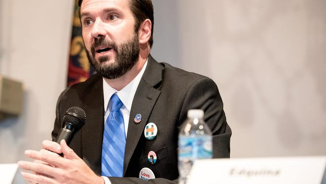 Shawn Mauck answers questions during a prospective candidate forum of Democrats interested in replacing Kevin Schreiber in Pennsylvania's 95th legislative district at The Bond in York on Wednesday, Aug. 17, 2016.
