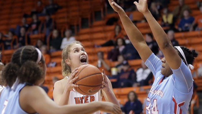 UTEP's Zuzanna Puc looks for the basket while defended by Louisiana Tech's Alexus Malone in early January at the Don Haskins Center.