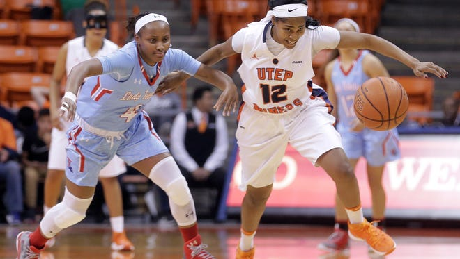 UTEP's Sparkle Taylor chases down a loose ball after stealing from Louisiana Tech's Kierra Lang Thursday night at the Don Haskins Center. UTEP defeated Louisiana Tech 69-62.