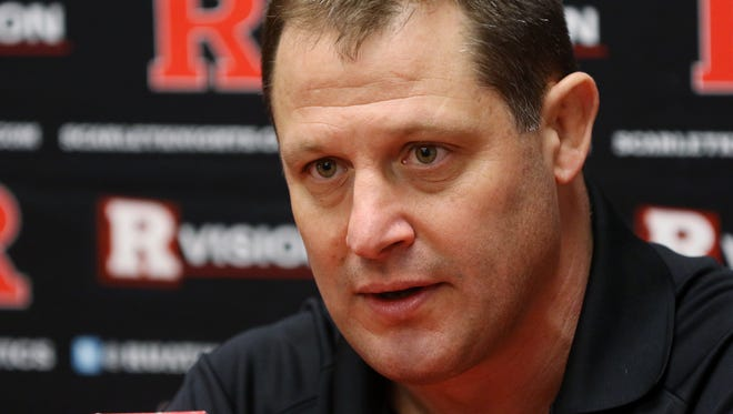 Rutgers wrestling coach Scott Goodale speaks during a press conference, Monday, March 14, 2016, at the College Avenue Gym in New Brunswick.