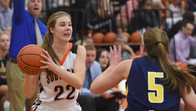 York Suburban's Ali Reinecker looks to pass in a 46-36 loss to Eastern York in December.