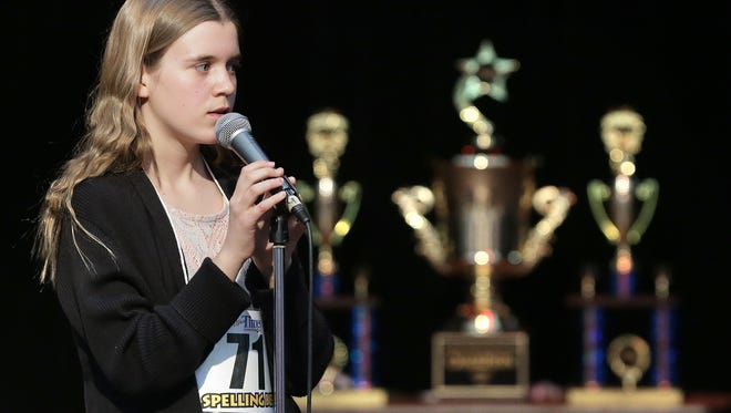 Shayla Cohen-Jones, a top 5 finalist, looks to the judges as she spells her word in the El Paso Times Regional Spelling Bee at Bel Air High School in 2017.