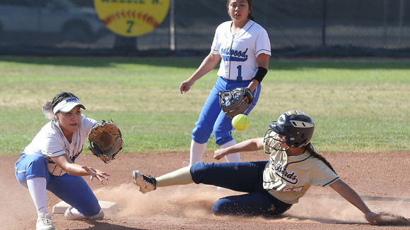 Coronado's Savannah Bejarano slide into second base past short stop Abby Hernandez.