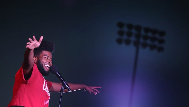 Khalid thanks fans for attending his show Friday night at the Americas High School football field. Khalid played for about 300 fans who were selected by Spotify. Khalid is an Americas High School grad.