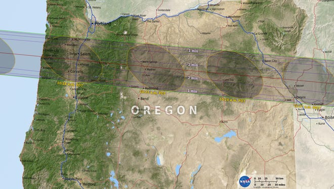 The projected path over Oregon of the total solar eclipse on Aug. 21, 2017.