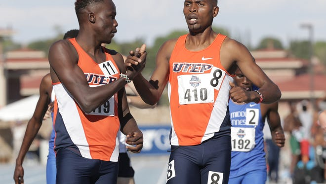UTEP's Michael Saruni, left, and Jonah Koech finish first and second in the prelims of the 1,500-meter run in May 2017 at the C-USA Outdoor Track and Field Championships at Kidd Field.