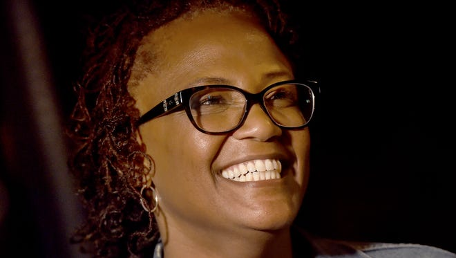 York Mayor Kim Bracey is all smiles outside of her headquarters after it was announced that she won the primary on Tuesday.
