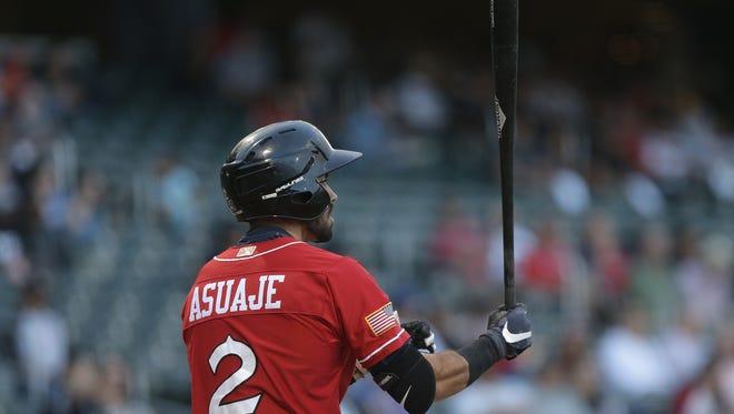 Chihuahuas second baseman Carlos Asuaje steps into the batter's box Tuesday facing Sky Sox pitcher Michael Blazek.