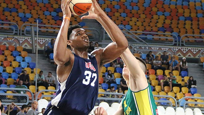 Auburn sophomore center Austin Wiley scored 15 points in a 89-66 exhibition game victory over Lithuania on June 28, 2017.