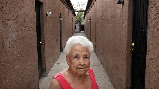 Antonia Morales is one of the remaining residents in the Duranguito neighborhood where the city plans to build the $180 million multipurpose entertainment center.