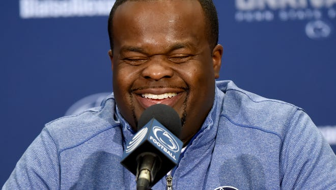 Penn State RB coach Charles Huff reacts at a press conference during media day held at Penn State on Saturday, August 5, 2017.